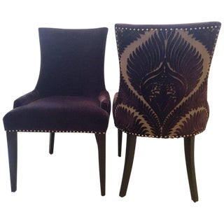 Hollywood Regency Restoration Hardware Purple Mohair Purple Velvet Dining Chairs - a Pair