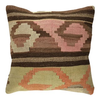 "Up-Cycled Mid-Century Kilim Pillow | 16"" For Sale"