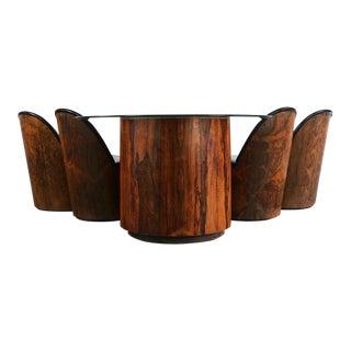 1970s Danish Milo Baughman Barrel Dining Set - 5 Pieces For Sale