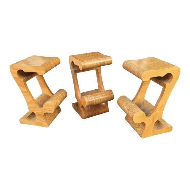 1980s Vintage Joe Manus Plywood Stools- Set of 3 For Sale