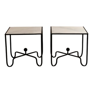 Wrought Iron and Honed Marble 'Entretoise' Side Tables by Design Frères - a Pair For Sale