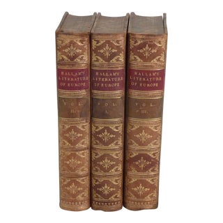 19th Century English Traditional Leather Books - Set of 3 For Sale