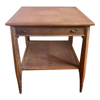 1950 Mid-Century Imperial Furniture Walnut Marquetry Top and Cane Shelf End Table For Sale
