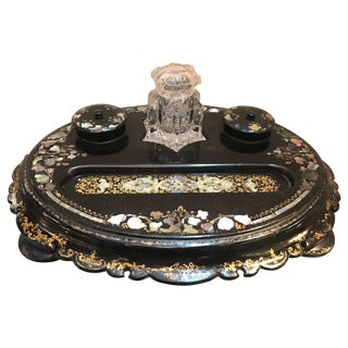 Late 19th Century Antique English Papier Mâché Inkstand For Sale
