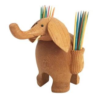 Vintage Wood Elephant Toothpick Holder For Sale