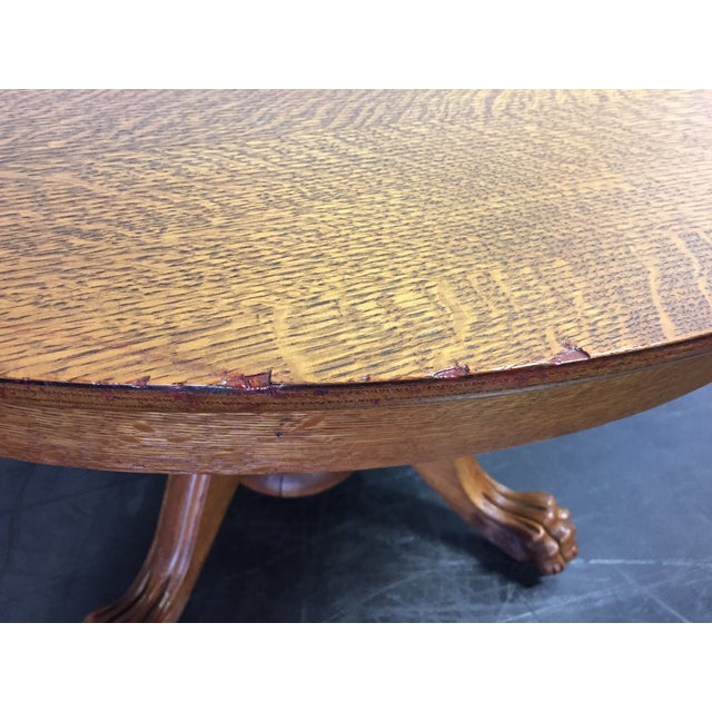 Antique Victorian Tiger Oak Round Dining Table For Sale - Image 7 of 11