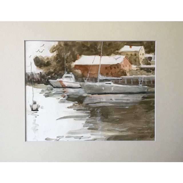 Vintage American Watercolor Boats Long Island New York by Harry Barton. Presented matted and framed. From the estate of...