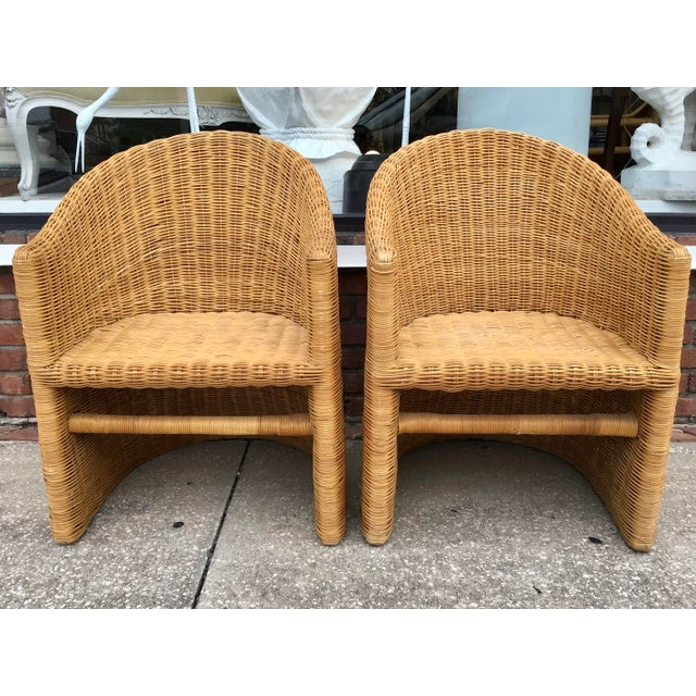 Boho Chic Moderne Rattan Barrel Chairs - a Pair For Sale - Image 3 of 11