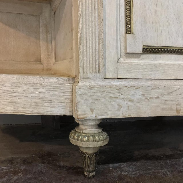 Louis XVI 19th Century French Louis XVI Marble Top Stripped Oak Buffet With Ormolu Bronze For Sale - Image 3 of 12
