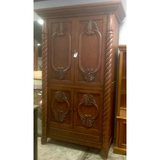 Carved Solid Wood Armoire - Image 2 of 3