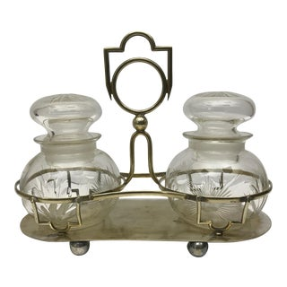 Pickle Jars on Brass Stand - A Pair For Sale
