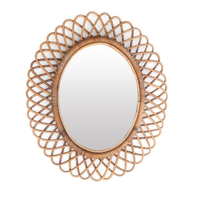 Franco Albini 1950s Franco Albini Italian Oval Rattan Mirror For Sale - Image 4 of 4