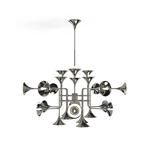 Botti modern chandelier instantly takes us into a music concert starring Chris Botti. The mid-century lighting design was...
