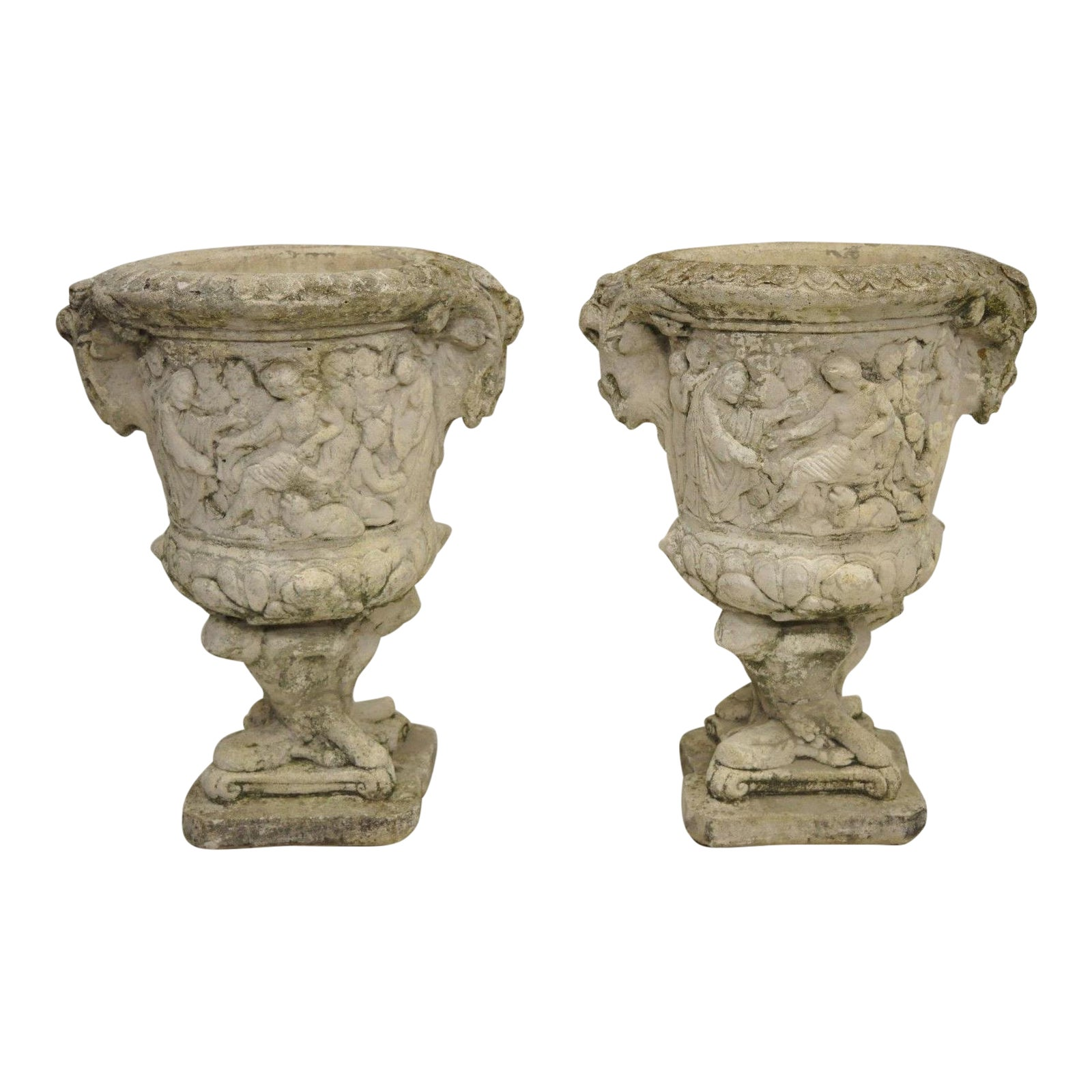 Pair of Greek Figural Classical Scenes Concrete Garden Planter Urns