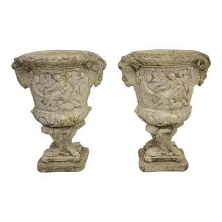 Pair of Greek Figural Classical Scenes Concrete Garden Planter Urns