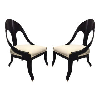 Pair of Neoclassical Style Lounge Chairs, Style of Michael Taylor for Baker
