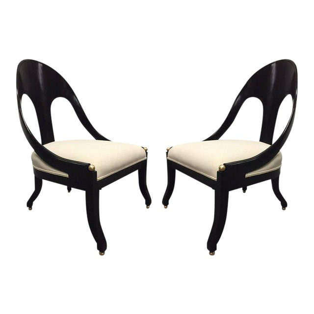 Pair of Neoclassical Style Lounge Chairs, Style of Michael Taylor for Baker - Image 1 of 6