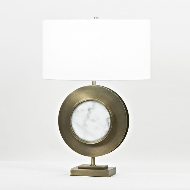 """27.5""""H - 150W 3-way marble, white - metal, antique brass finish Shade: oval; off-white linen; 19""""W x 14.5""""D x 10.25""""H"""