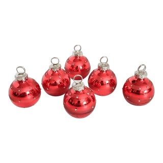 Red Glass Christmas Ornament Place Card Holders - Set of 6 For Sale
