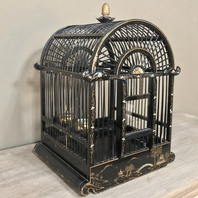 19th Century French Hand-Painted Chinoiserie Bird Cage For Sale - Image 13 of 13