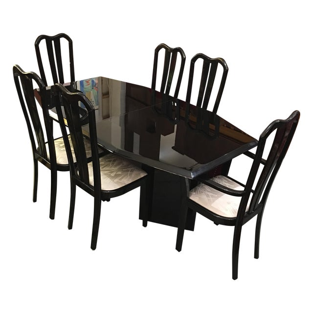 Black Lacquered Dining Set - Image 1 of 6