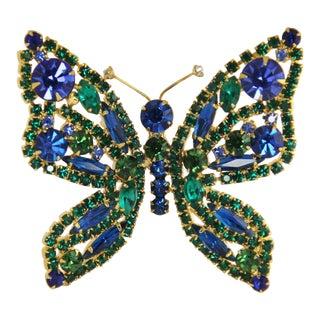 Vintage Delizza Elster D&e Juliana Blue Green Rhinestone Butterfly Brooch For Sale