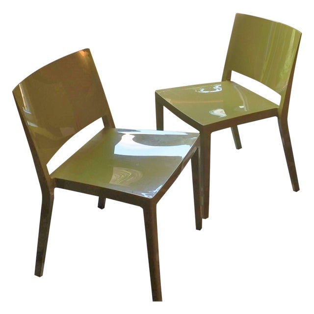 Authentic Green Kartell Lizz Chairs - Pair - Image 1 of 4