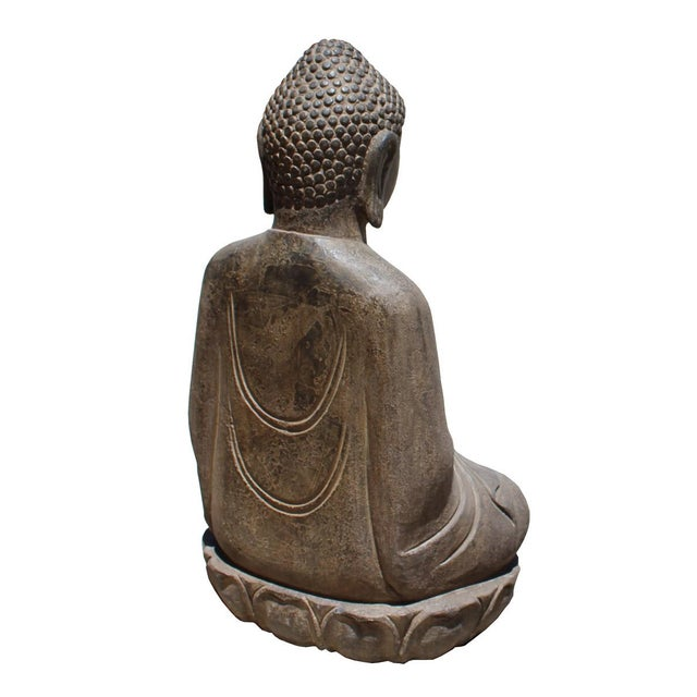 Chinese Stone Sitting Buddha Amitabha Shakyamuni Statue For Sale - Image 5 of 6