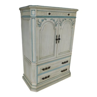 Hickory White Regency Style Paint Decorated Chest Armoire For Sale