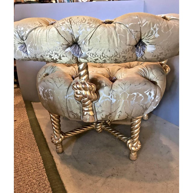 Napoleon III-Style Gilt Rope Carved Chair in Diamond Tufting by Kelly Wearstler For Sale In Los Angeles - Image 6 of 7