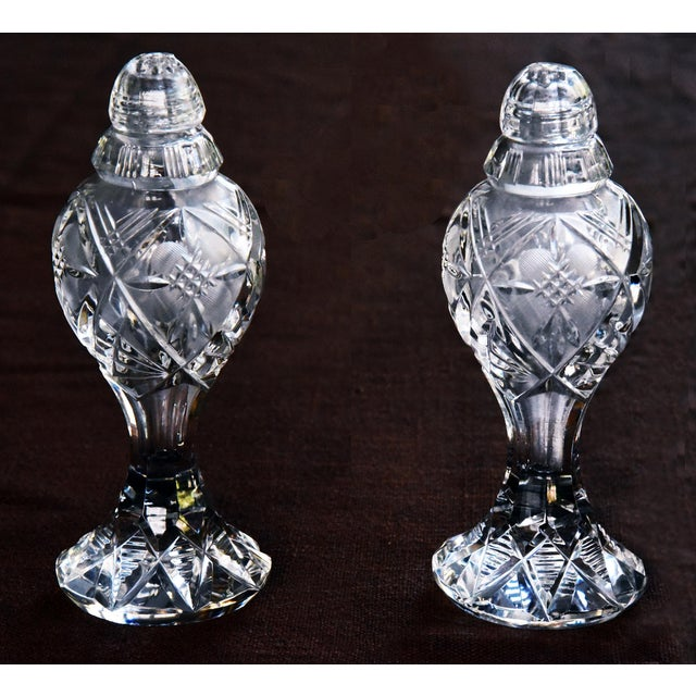 Mid 20th Century Vintage Ornate Bohemia-Czech Heavy Hand Cut Lead Crystal Salt & Pepper Shakers - A Pair For Sale - Image 5 of 6
