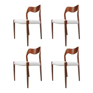 Model 71 Teak Dining Chairs by Niels Otto Møller for JL Møllers, 1951 For Sale