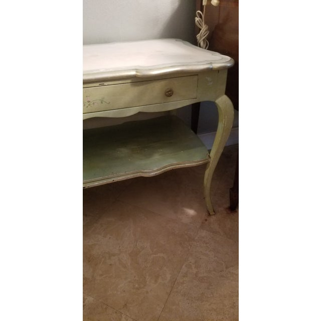 1930s White Mablre Top 1930s Italian Painted Console or Dressing Table For Sale - Image 5 of 13