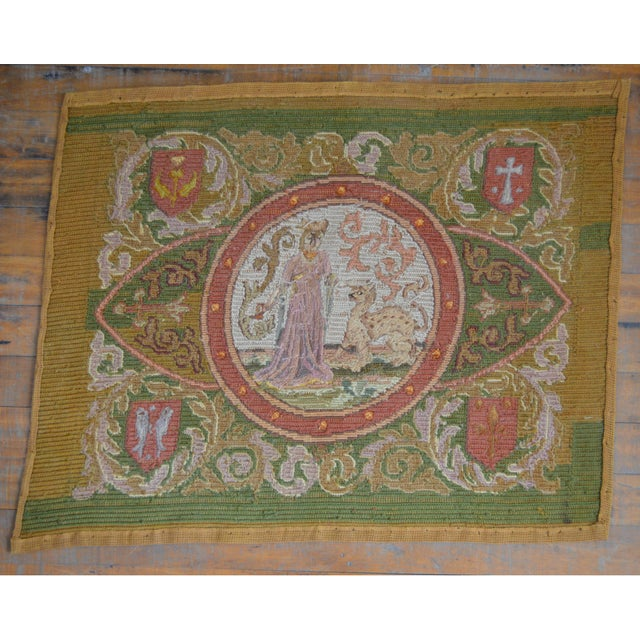 Lathe 19th Century Wool Needlepoint Panel With Lady and Cheetah For Sale - Image 11 of 13