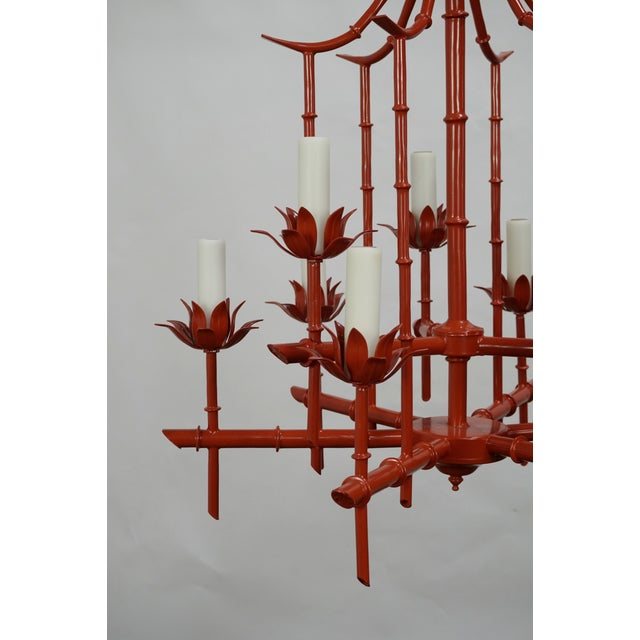 Faux Bamboo Pagoda Chandelier - Image 4 of 7