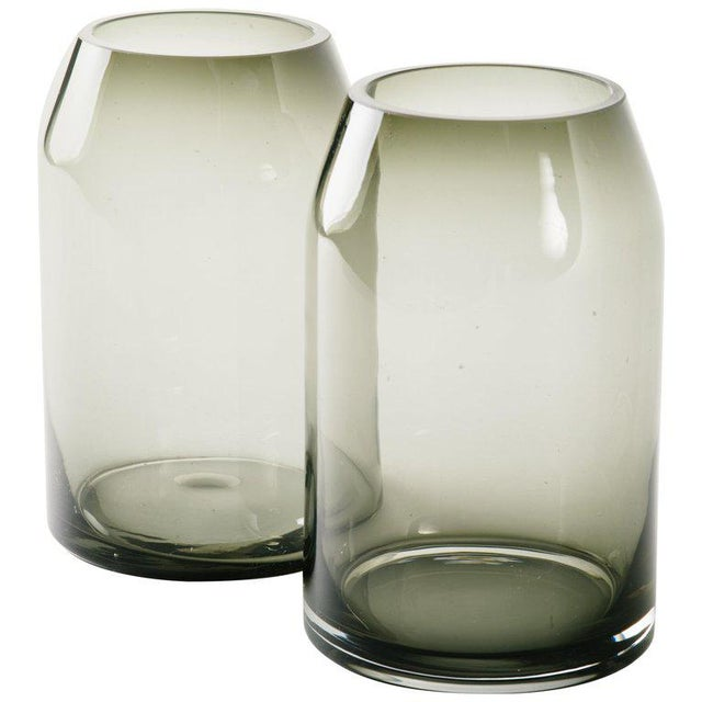 Pair of Danish Modern Smoked Glass Sommerso Vases For Sale - Image 10 of 10