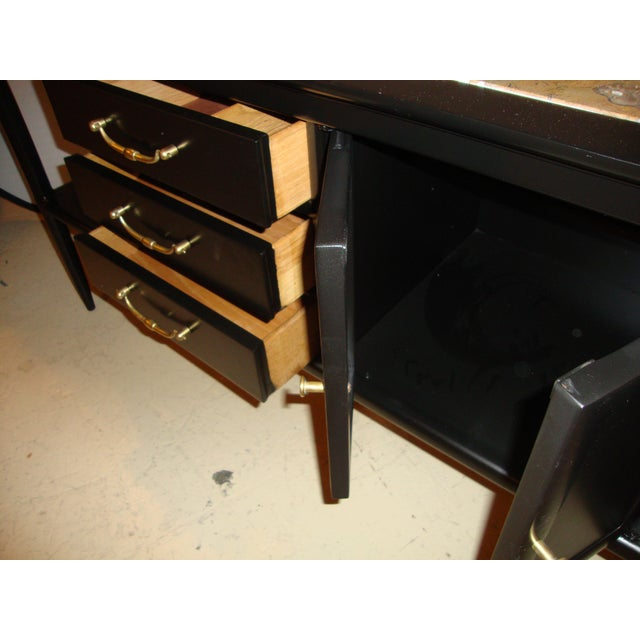Tomlinson Stamped Marble-Top Ebonized Credenzas - A Pair For Sale - Image 9 of 9