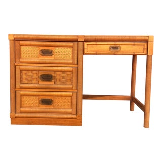 Mid Century Campaign Style Writing Desk With 4 Drawers For Sale