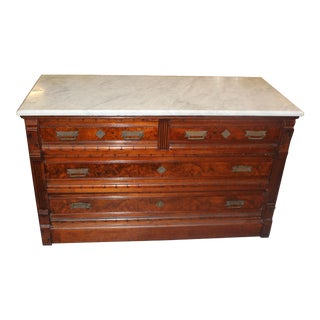 19th Century Victorian Marble Top Eastlake Chest For Sale