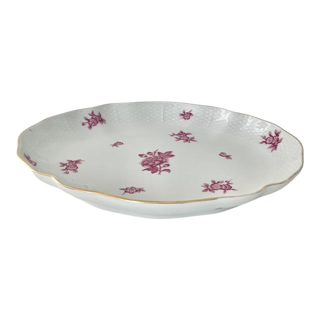 Vintage Herend Chinese Bouquet Raspberry Oval Plate For Sale