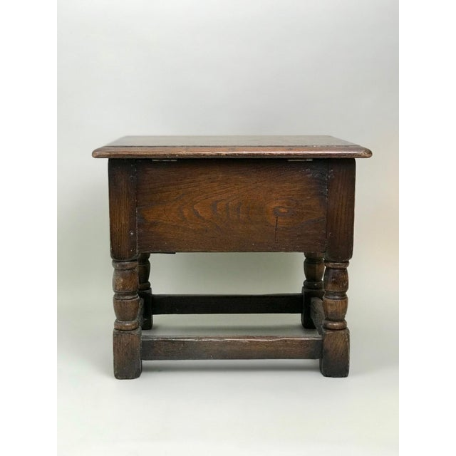 19th Century Traditional Oak Joint Stool/ Bible Box For Sale - Image 4 of 8