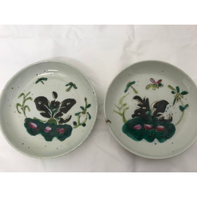 Very old Famille Rose pottery dishes. Chop mark on underside.