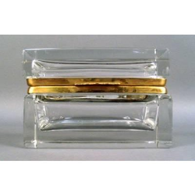 A fine quality cut crystal and bronze dresser box. (One small chip.). Simple, elegant design. Probably Baccarat.