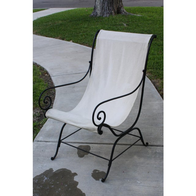 Boho Chic Vintage French Wrought Iron Sling Chair For Sale - Image 3 of 13