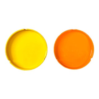 Pop Art Mebel Italy Yellow Orange Plastic Stacking Ashtrays - a Pair For Sale