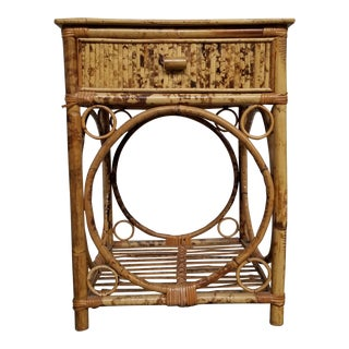 Antique Scorched Bamboo Nightstand For Sale