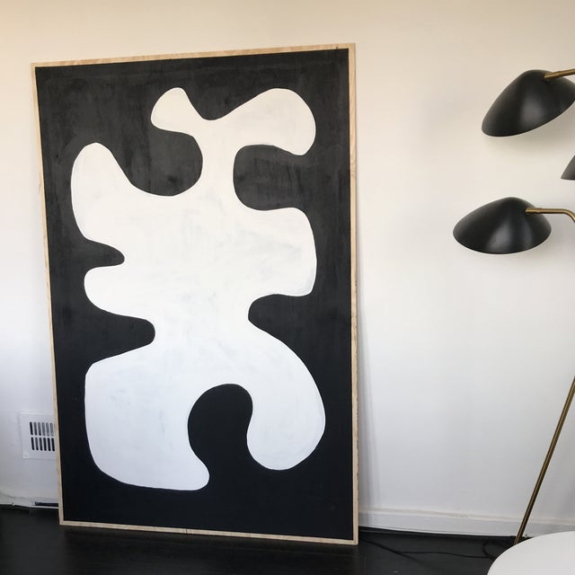 Black & White Oversized Abstract Painting - Image 4 of 9