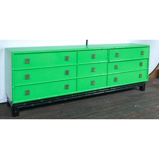 1970s Chinoiserie Ficks Reed Green Faux Bamboo Credenza Preview