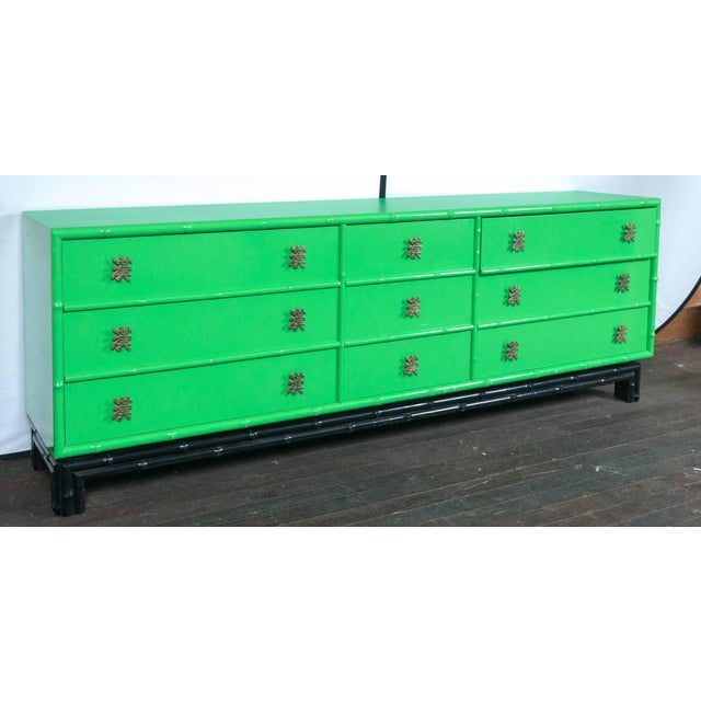 Ficks Reed Asian- chinoiserie faux bamboo chest of drawers or credenza in original parrot green and black with Chinese...