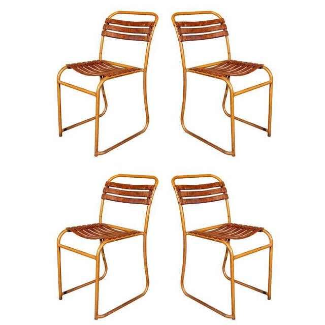 Painted Bakelite Slat Stacking Chairs, England, circa 1940 For Sale - Image 11 of 11